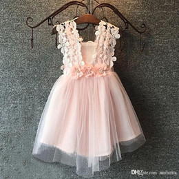 Abiti da sposa per bambini all'ingrosso online-Wholesale Hug me Baby Girls Clothes Lace Tutu Dresses Childrens Prubcess Sequins Wedding Dresses for Kids Clothing Summer Party Dress