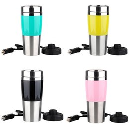 Wholesale Electric Heated Travel Coffee - Wholesale- Stainless Steel Car 12 Volt Electric Heat Insulation Cup Portable Travel Coffee Mug