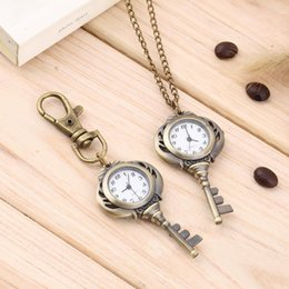 Wholesale Vintage Antique Watch Chain - Wholesale-Vintage Antique Stainless Steel Quartz Pocket Watch Key Shaped Pendant Watch Key Chain Unisex Gift New Popular New Hot Selling