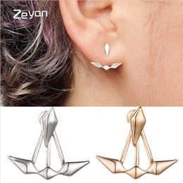 Wholesale Rhombus Earrings - Zeyan 2017 New Geometric Glossy Rhombus Stud Earrings Fashion Elegant Jewelry for Women Gift Boat Earrings ZYHH012