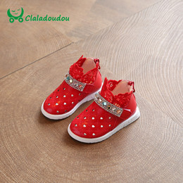 Wholesale Wholesale Shoes Crystal Stone - Wholesale- Claladoudou Baby Shoes With Cute Lace Red kd Shoes For Children Girls Stone Crystal Footwear White Spring Summer Toddler Boots