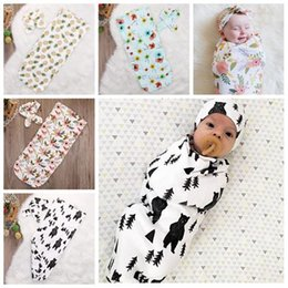 Wholesale Baby Sleeping Bag Pattern - 2017 baby sleeping bag newborn muslin swaddle blankets + headbands baby swaddle wrap sleeping bag infant sleep sacks animal print sleepwear