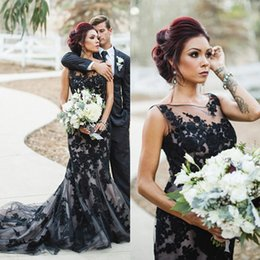 Wholesale Mermaid Scoop Sweep Prom Dress - Black Engagement Dress 2017 Classy Lace Applique Mermaid Evening Dresses Long Prom Dress Robe De Soiree Longue Illusion Tulle Formal Gowns