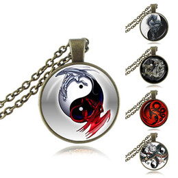 Wholesale Chinese Glass Plates - Yin Yang Dragon Pendant Chinese Eight Diagrams Necklace Astrology Zodiac Jewelery Charm Pendant for Him Glass Cabochon Handmade Jewellery
