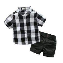 Wholesale White Mandarin Suit - Wholesale 2017 Baby Boys Plaid Clothes Boy Two Pieces Clothing Toddler Summer Sets Children White Black Shirt And Shorts Suit 70-95cm
