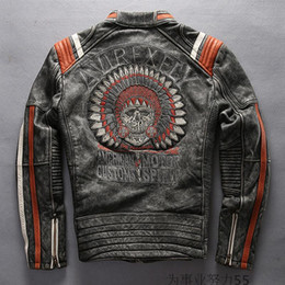 Wholesale Leather Vintage Coat - AMERICAN MOTOR JACKET AVREXFLY Harley-motorcycle Leather jackets Harley with top grade cowhide ganuine leather embroidered coats