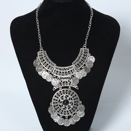 Wholesale Choker Findings - Wholesale- Find Me vintage big gem bohemian necklace chain jewelry fashion collar choker coin gypsy ethnic maxi Statement necklace women