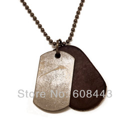 Wholesale Silver Blank Link - Wholesale-NB003 Vintage Antique Silver Blank Dog Tag 5.5cm*4cm Pendants Genuine Leather Ball Chain Necklace For Men Boy Gift for him