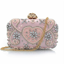 Wholesale Silver Beaded Evening Bags - Evening purses shoulder bags party purses for women champagne colored evening bags silver beaded clutch evening bag