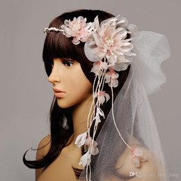 Wholesale Headdress Cathedral Veil - 2016 Voile Mariage Korean Brides Veil Pink Fairy Beautiful Flowers, Is A Brief Paragraph Wedding Bridesmaid Headdress Flower Dress To Match