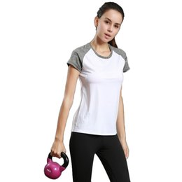 Wholesale Short Sleeved Women Shirts - Light running T-shirt female sports fitness short-sleeved round neck yoga clothing reflective strip rotten shoulder sleeve hit color