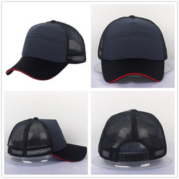 Wholesale Navy Style Hat - Sandwich Cap Style Baseball Cap Cotton Blank Black Navy Golf Hat Plain 6 Panels Mesh Hat Man Woman