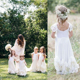 Wholesale Cheap Cute Little Girl Dresses - Modest Boho Lace Flower Girls Dresses 2017 Cute Applique Jewel Neck Backless Ruffled Little Toddler Ball Gowns for Bohemian Weddings Cheap