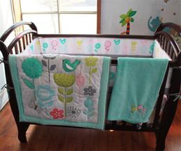 Wholesale Bird Bedding Sets - American Children Summer Crib Bedding Sets Cyan Grass Flowers Bird Inc comforter bumper baby blanket bedcover skirt