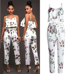 Wholesale Womens Running Tanks - Ladies Summer Floral Print Casual Two Pieces Set Suit Womens Sleeveless Spaghetti Strap Tank Vest Tops Blouse Shirt + Pants Sportwear