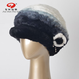 Wholesale Elegant Hats For Women - Wholesale-Real fur hat for women 2017 New year natural Rex rabbit fur cap for lady fashional and elegant hot sale