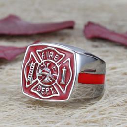 Herren Feuerwehrmann Feuerwehr FD Rot Emaille Edelstahl Ring von Fabrikanten