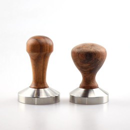 Wholesale pc based - 1 PC Espresso Coffee Tamper Wooden Handle with stainless stell base 49MM 51MM 53MM 57MM 58MM Coffee Hammer