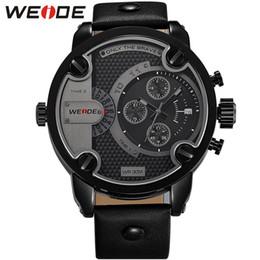 Wholesale Men Watches Deals - GaGa Deal! WEIDE Watches Men Luxury Brand mens sport Leather Strap Quartz Dual Time Zone Analog Date Men Sport Military Oversize Wristwatch