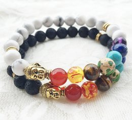 Wholesale Balance Channel - New Natural Black Lava Stone Charm Bracelets 7 Reiki Chakra Healing Balance Beads Bracelet for Men Women Stretch Yoga Jewelry