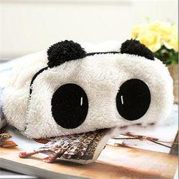 Wholesale Cute Cartoon Panda Pencil Case - Wholesale- 1PCS Cute Cartoon Cat Panda Shape Soft Plush Cosmetic Makeup Bag Pouch Pen Pencil Case Organizador