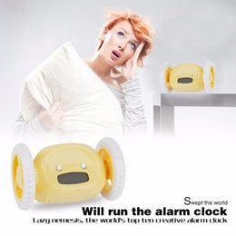 Wholesale Digital Clocks Wheels - 4 Colors Creative Design LCD Screen Display Running Alarm Clock Home Bedroom Living Room Runaway Clocky Moving Wheels Clock