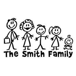 Wholesale Vinyl Family Car Stickers - 18CM*10.4CM Personalised Matchstick Family Funny Car Vinyl Decals Car Stickers Car Styling Accessories