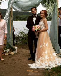 Wholesale Detachable Tail Wedding Dress - Fashionable Lace Wedding Dress 2017 Light Pink Removable Beading Sash Detachable Tail Chapel Train Robe De Mariage Bridal Gowns