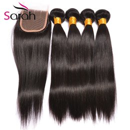 Wholesale Malaysian Sale - Hot Sale 8A Quality Brazilian Virgin Hair With Closure Brazilian Straight Hair with Closure 3 4 Bundles With Lace Closure