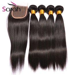 Wholesale Wholesale Brazilian Hair Bundles Sale - Hot Sale 8A Quality Brazilian Virgin Hair With Closure Brazilian Straight Hair with Closure 3 4 Bundles With Lace Closure