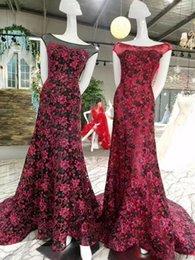 Wholesale High End Dresses Cheap - Vestido de Festa Longo Sexy Open Back Burgundy High-end Luxurious Lace Mermaid Prom Dresses 2017 Cheap O Neck Evening Party Dresses