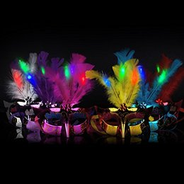 Wholesale Led Feather Masks - lovely glowing party mask Mini LED Feather Mask Halloween Decoration Venetian Masquerade Party Flower Beads Princess Kid Gift