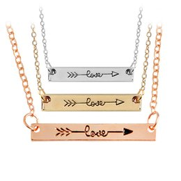 "Wholesale Green Gold Plated Rose - ""LOVE"" Minimalist Rose Gold Color Bar Necklace Simply Horizontal Love Arrow for Women"