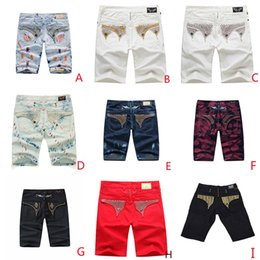 Wholesale Yellow Jeans For Boys - Robin Man Short Jeans Pants Gold Metal Wing Diamond For Rock Revival Jeans Street Style Boy Designer Trousers Men's Size30-42 Classiic Denim