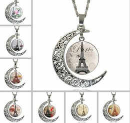 Wholesale Retro Eiffel Tower Glass - 2017 New Fashion Women Lady Girl Horse Hollow Moon Time gem Necklace Eiffel Tower Glass Pendant Necklace Retro Silver Jewelry