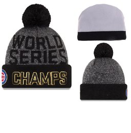 Wholesale Wholesale Soccer Drop Ship - wholesale 2016 world series champs cubs beanies Winter High Quality Beanie For Men Women Skull Caps Skullies Pom Knit Hats Drop Shipping