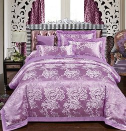 Wholesale Green Floral Bedspreads - Luxury Purple Bedding set uropean Embroidered Floral Satin Jacquard bedspread King Queen size duvet cover sheets bed sheet 4PCS