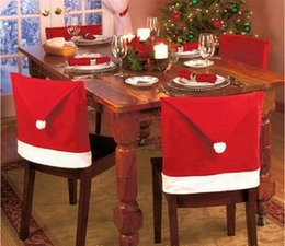 Wholesale Hat Decor - Christmas Chair Back Cover Christmas Decorations Happy Santa Clause Red Hat Restaurant Chair Seat Back Covers Dinner Chair Cap Table Decor