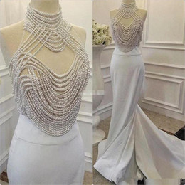 Wholesale Heavy Evening Gowns - Fashion Heavy Pearls Mermaid Prom Dresses Real Picture High Neck Evening Dress Long Evening Gown Robe de soiree 2017 Evening Dress