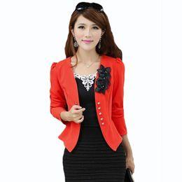 Wholesale Womens White Suit Blazer - women blazers and jackets Plus Size 5XL Ladies Suit Blazers Feminino Blaser Womens Yellow White Black Pink Blazer Female