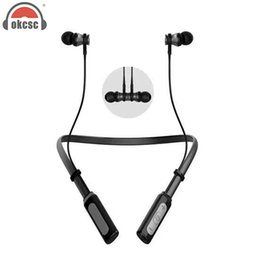 Wholesale Iso Wire - OKCSC Wireless Bluetoooth Earphones Headset Magnet Neckband Stereo Headset In-ear Sport Headphones with MIC for ISO Android