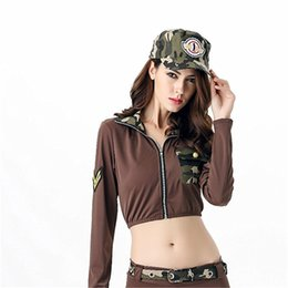 Wholesale Bare Midriff - Policewoman Cosplay Camouflage Stage Costume Bare Midriff Include Cap Coat Shorts Military Uniform Costume Polyester Brown