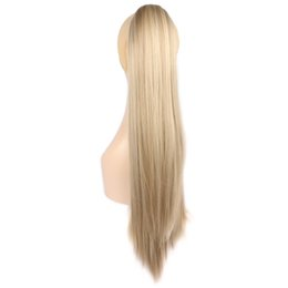 Wholesale Ponytail Claw Clip Hair Extension - Wholesale-Claw Clip Ponytail Hair Hairpieces 22 Inch 150G Long Hair Synthetic Straight Tail Hair Extension Color F613 16 WP541G75