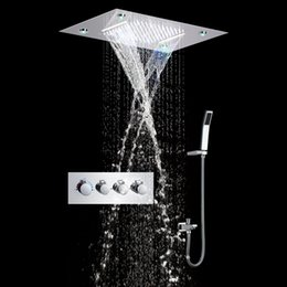 hot selling electricity power multi color changing rainfall waterfall led shower system with recessed shower heads