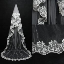 Wholesale Veil Supplies - Cheap Cathedral Lace Applique Edge Wedding Veil Bridal Wedding Supplies Chapel Length Free Shipping Custom Made Bridal Veils