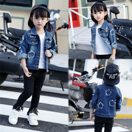 Wholesale Cardigan Girl Boy Star - Girls Denim Jacket New Spring and summer 2017 star children jeans children cardigan,DHL free shipping