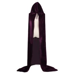 Wholesale Witch Costume Adult Xl - Adult Witch Long Halloween Cloaks Hood and Capes Halloween Costumes for Men Cosplay Costumes Velvet Cosplay Clothing