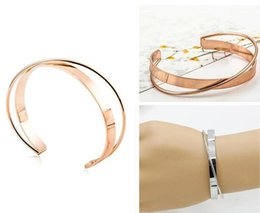Wholesale Golden Silver Cuff Bangle Bracelet - New European Simple Opening Cuff Bracelet Golden Silver Double Band Copper Wristband Women Alloy Cuff Bangle Bracelets Jewelry