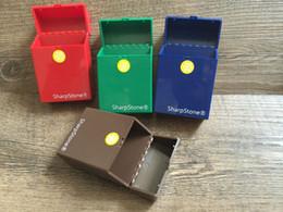 Wholesale Plastic Rectangular - shipping New Pocket SharpStone Cigarette plastic Case Sharp Stone Tobacco Case Box Holder Cigar Smoke smoking grinder