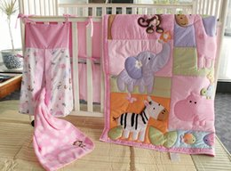 Wholesale Pink Quilt Patterns - Muslin Bear 4-6 Items Pink Zoo Pattern Embroidery Baby Bedding Set Baby Quilt+Bumper+Bed Skirt+Mattress Cover+Diaper Bag+Blanket